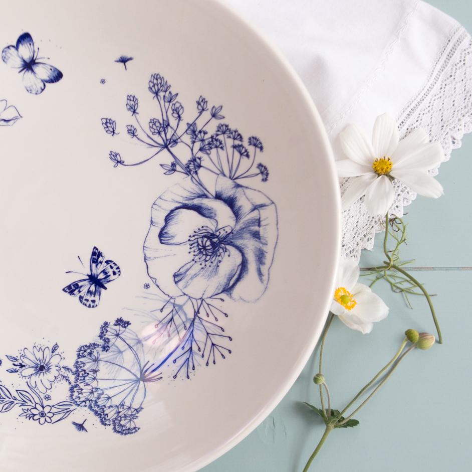 Wild Garden Sketches Low Bowl Aqua Furnishings