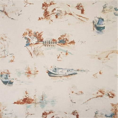 Autumn Canal boat fabric