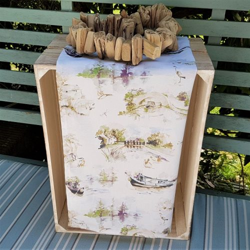 spring canal scene tea towel