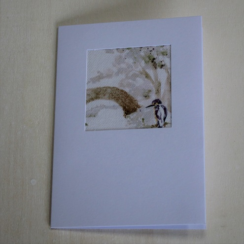 spring fabric card - bridge and kingfisher
