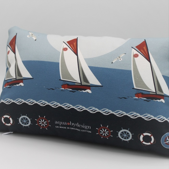 Nautical Blue Boats Cushion