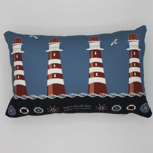 Nautical Blue Lighthouse Cushion