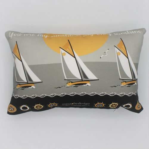 Nautical Grey Boats Cushion