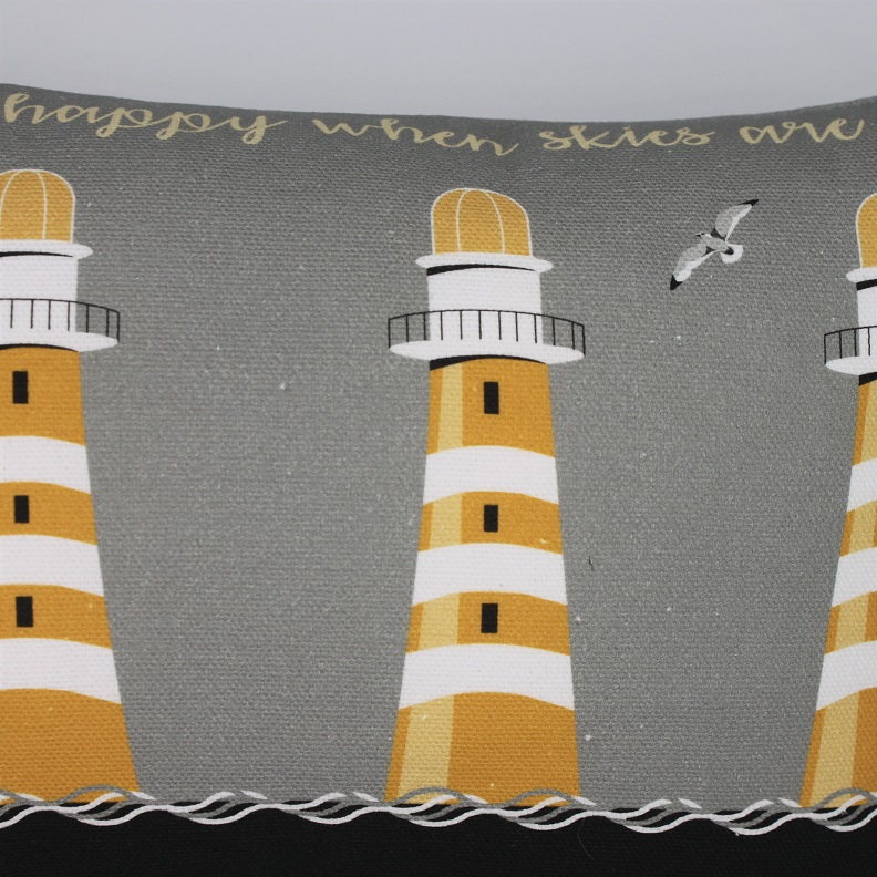Nautical Grey Lighthouse Cushion