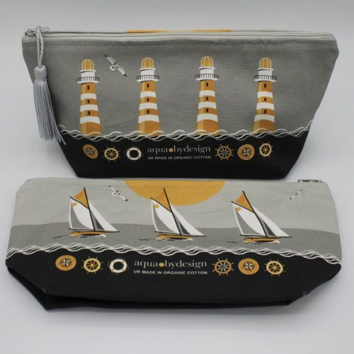 Nautical Grey Make-Up Bag