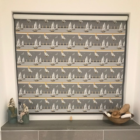 Nautical Grey Boats Roller Blind